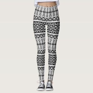 Black and White Layered Patterns Leggings