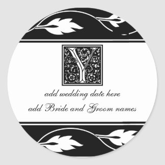 Black And White Leaf Monogram Y Classic Round Sticker