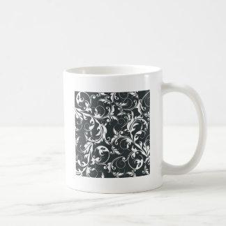 Black and White Leaf Pattern Coffee Mug
