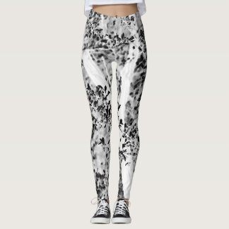 Black and White Leafy Yoga Exercise Running Leggings