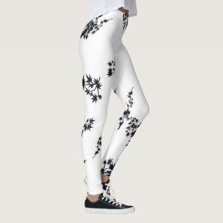 Black and White Leaves Leggings