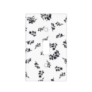 Black and White Leaves Light Switch Cover