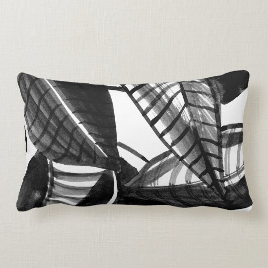 Black and White Leaves Lumbar Pillow