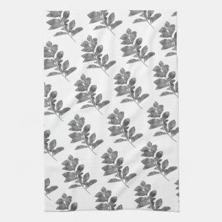 Black and white leaves tea towel