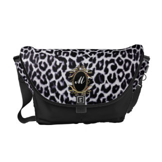 Black and White Leopard Monogram Messenger Bag