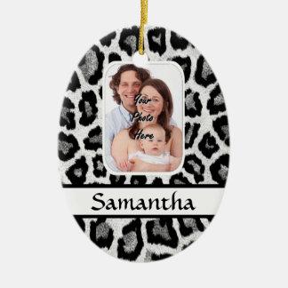 Black and white leopard print ceramic oval ornament