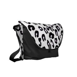 Black And White Leopard Print Messenger Bag