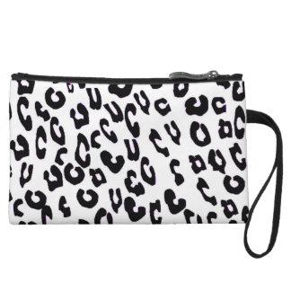 Black And White Leopard Print Mini Clutch Bag Wristlet Purses