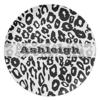 Black and White Leopard Print Party Plates