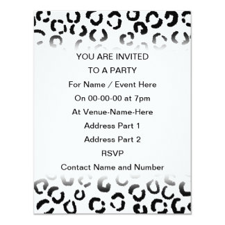 "Black and White Leopard Print Pattern. 4.25"" X 5.5"" Invitation Card"