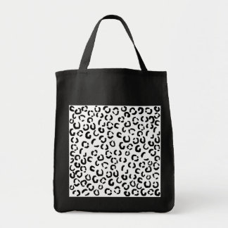 Black and White Leopard Print Pattern. Canvas Bags