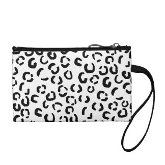 Black and White Leopard Print Pattern. Change Purse