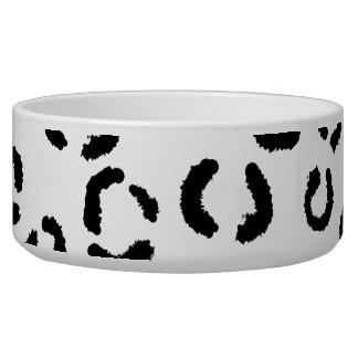 Black and White Leopard Print Pattern. Dog Bowls