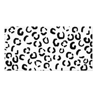 Black and White Leopard Print Pattern. Picture Card