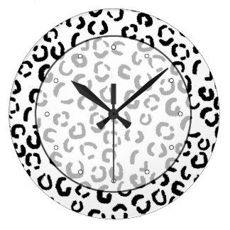 Black and White Leopard Print Pattern. Wallclocks