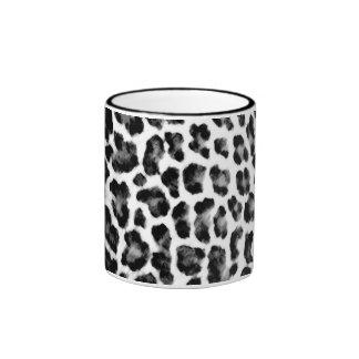 Black and White Leopard Print Ringer Coffee Mug