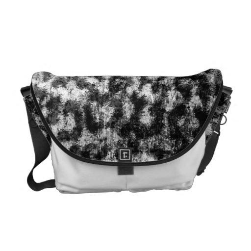 Black and white Leopard Print Skin Fur Messenger Bag