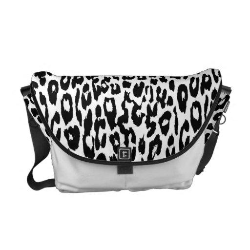 Black and White Leopard Print Skin Messenger Bags