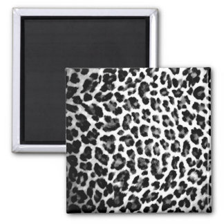 Black and White Leopard Print Square Magnet