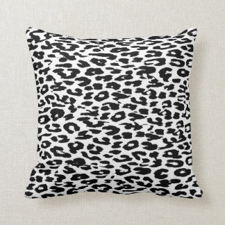 Black and White Leopard Print Throw Pillow