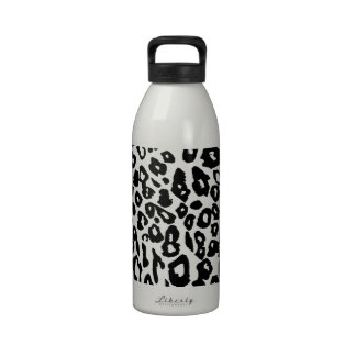 Black and White Leopard Print Water Bottles