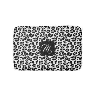 Black and White Leopard Print with Custom Monogram Bath Mat