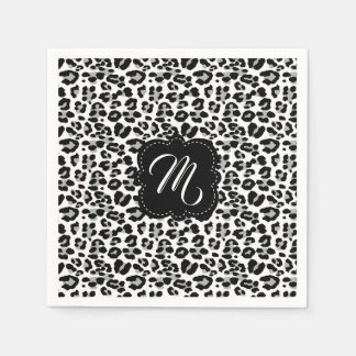 Black and White Leopard Print with Custom Monogram Disposable Napkins