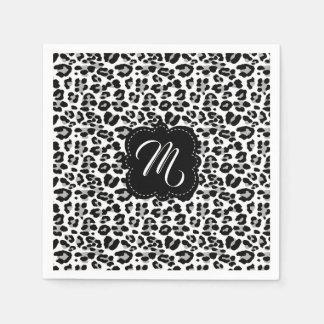 Black and White Leopard Print with Custom Monogram Paper Napkin