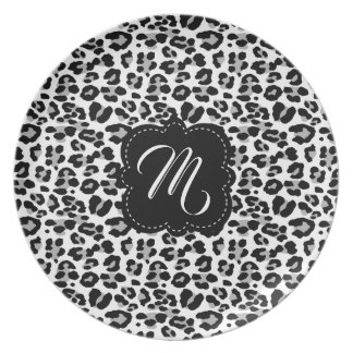 Black and White Leopard Print with Custom Monogram Plate
