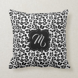 Black and White Leopard Print with Custom Monogram Throw Pillow