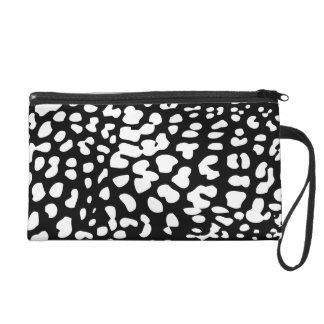 Black and White Leopard Print Wristlet Bag