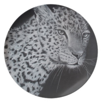 Black and white leopard sketch dinner plate