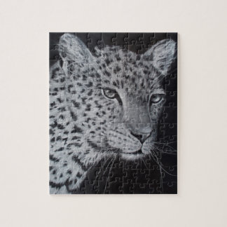 Black and white leopard sketch puzzle