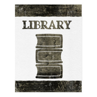 Black and White Library Book Postcard