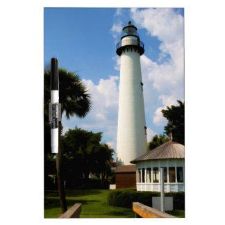 Black and White Lighthouse Jekyll Island Georgia Dry Erase Board
