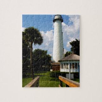 Black and White Lighthouse Jekyll Island Georgia Puzzles