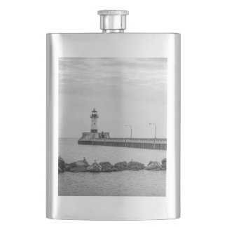 Black and white lighthouse photo flask