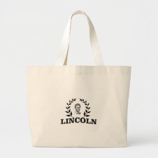 black and white lincoln large tote bag