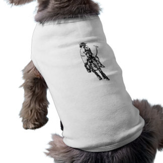 Black and White Line Drawing Polo Player Pet Clothing