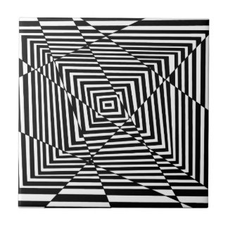 Black and White Line Illusion Pattern Tile