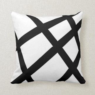 Black and White Linear Geometric 2 Throw Pillow