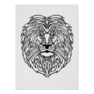 "Black and White Lion Art Print Poster, 13"" x 19"""