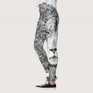 Black and white lion line art leggings