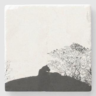 Black and white Lioness silhouette stone coaster