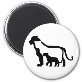 Black and White Lions 2 Inch Round Magnet