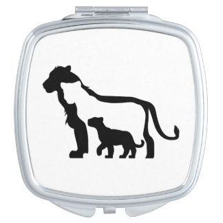 Black and White Lions Compact Mirrors