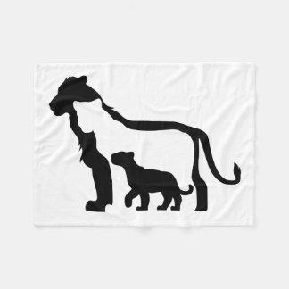 Black and White Lions Fleece Blanket