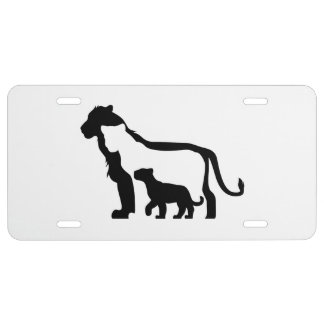 Black and White Lions License Plate