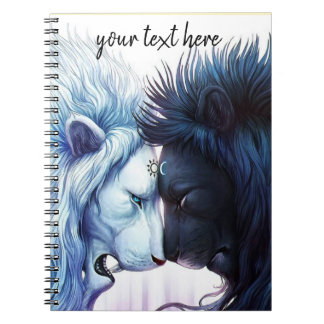 Black and white lions notebook journal