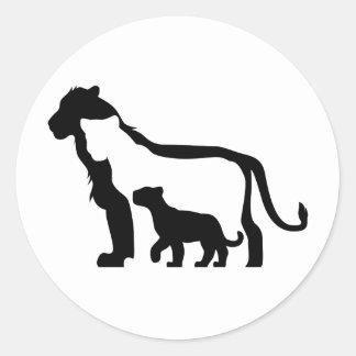 Black and White Lions Round Sticker